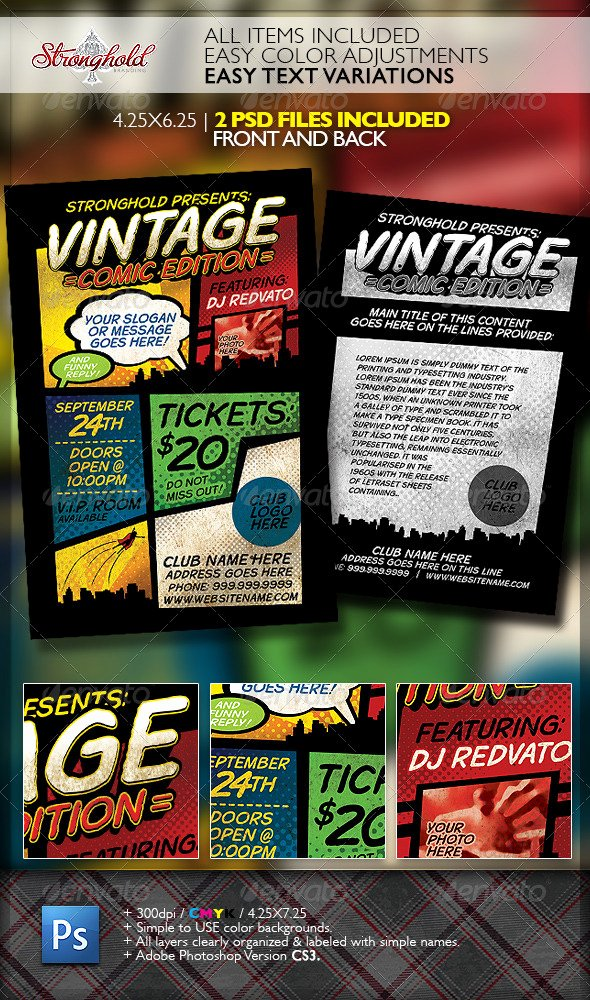 Comic Book Template Photoshop Beautiful Vintage Ic Book event Flyer Template by Stronghold
