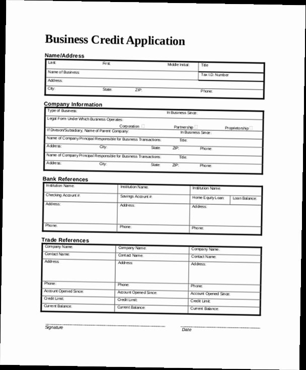 Commercial Credit Application Template Awesome Business Credit Application form Pdf