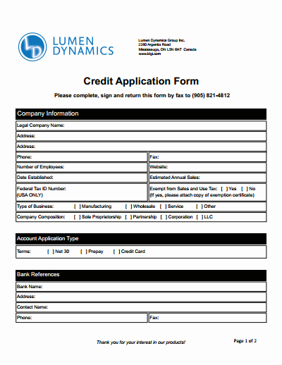 Commercial Credit Application Template Awesome Credit Application form Download Create Edit Fill and