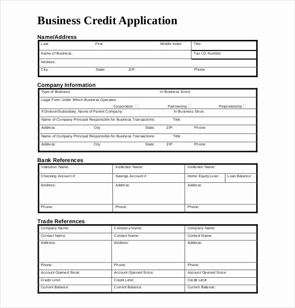 Commercial Credit Application Template Awesome Credit Application Template – 13 Free Word Pdf Documents