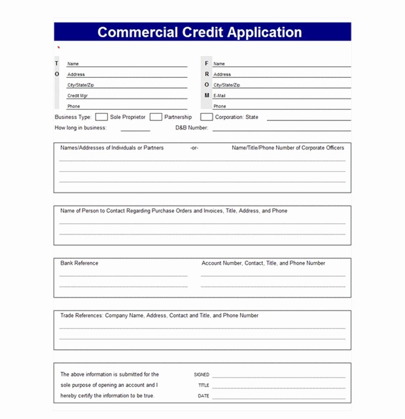 Commercial Credit Application Template Awesome Credit Application Template