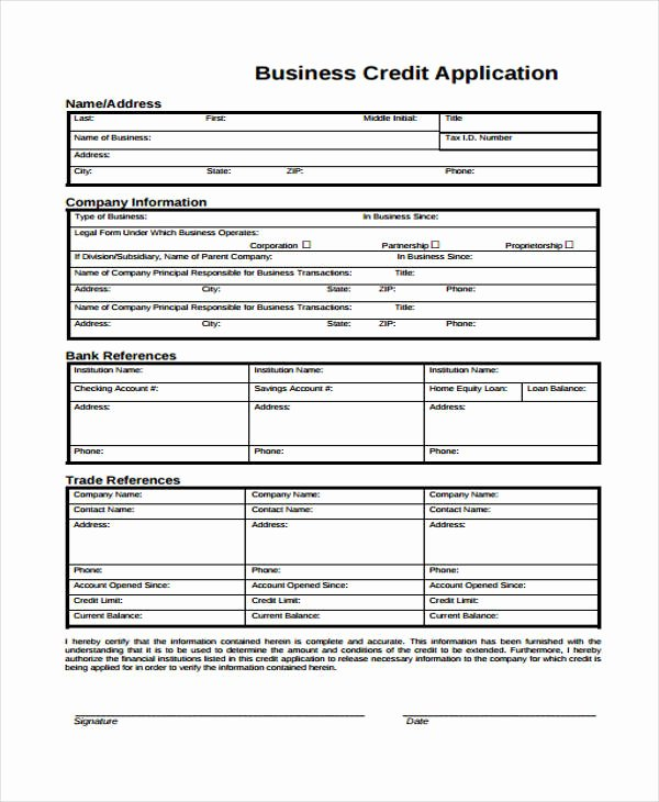 Commercial Credit Application Template Fresh 15 Credit Application form Templates