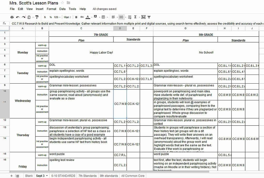 Common Core Lesson Plan Template Doc Best Of Using Google Docs for Lesson Plans and Labeling the Mon