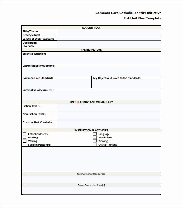 Common Core Lesson Plan Template Doc New Unit Plan Template