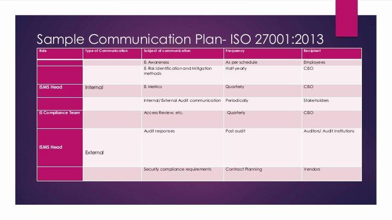 Communication Matrix Template Elegant Sample Munication Plan iso