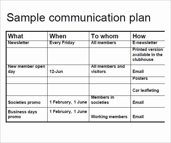 Communication Matrix Template New 16 Samples Of Munication Plan Templates Pdf Word