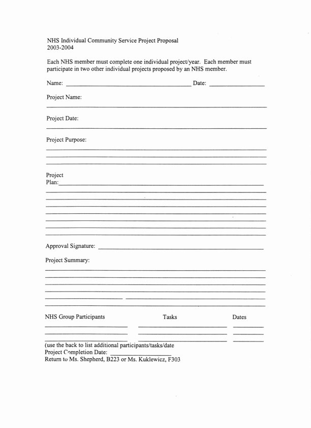 Community Project Proposal Inspirational Individual Munity Service Project Proposal