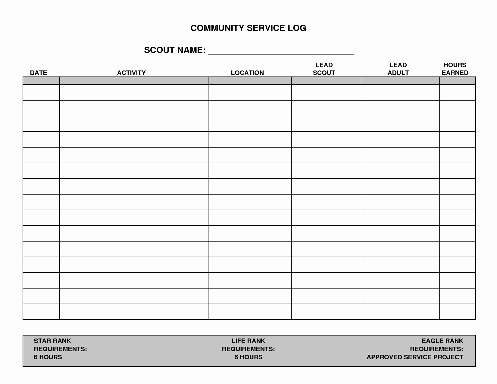 Community Service Paper Pdf Awesome 7 Best Of Printable Hours Log Volunteer Hours Log