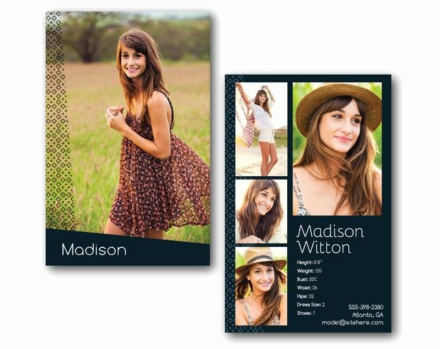 Comp Card Template Psd Download Luxury Customizable Digital Model P Card Zed Card Geometric