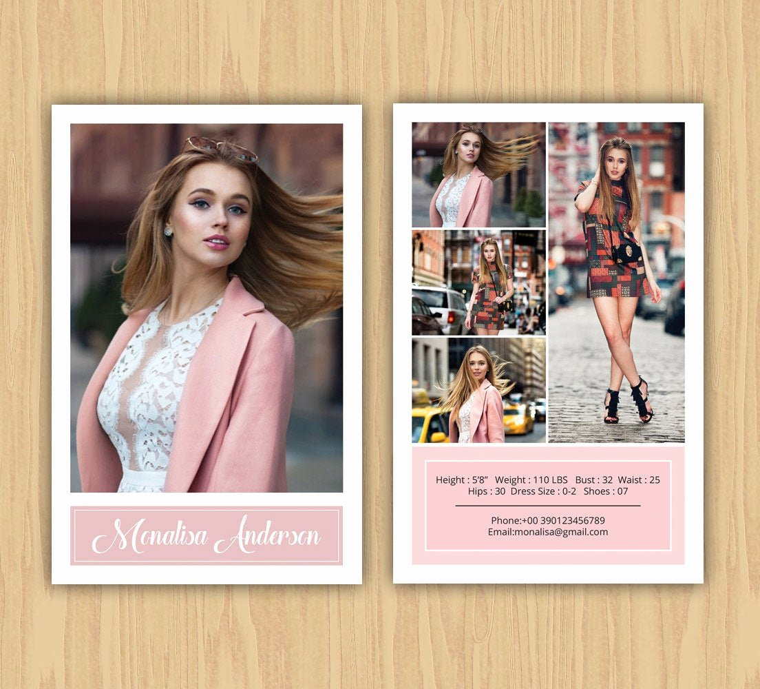 Comp Card Template Psd Download New Fashion Model P Card Template Modeling P Card Ms