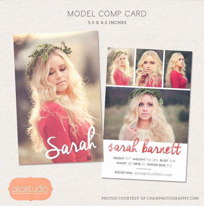 Comp Card Template Psd Download Unique Model P Card Shop Template Watercolor Chic Cm001