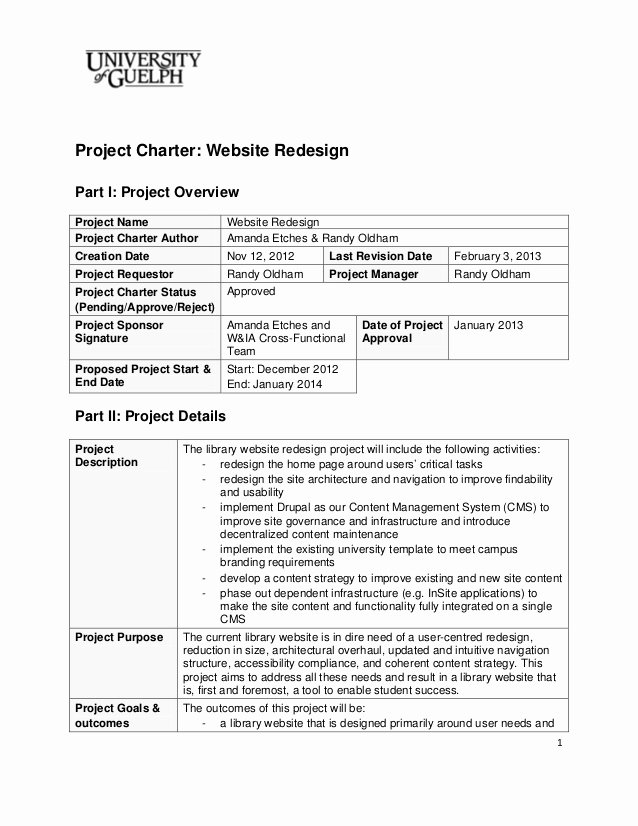Company Charter Example Lovely 2013 Website Redesign Project Charter Final