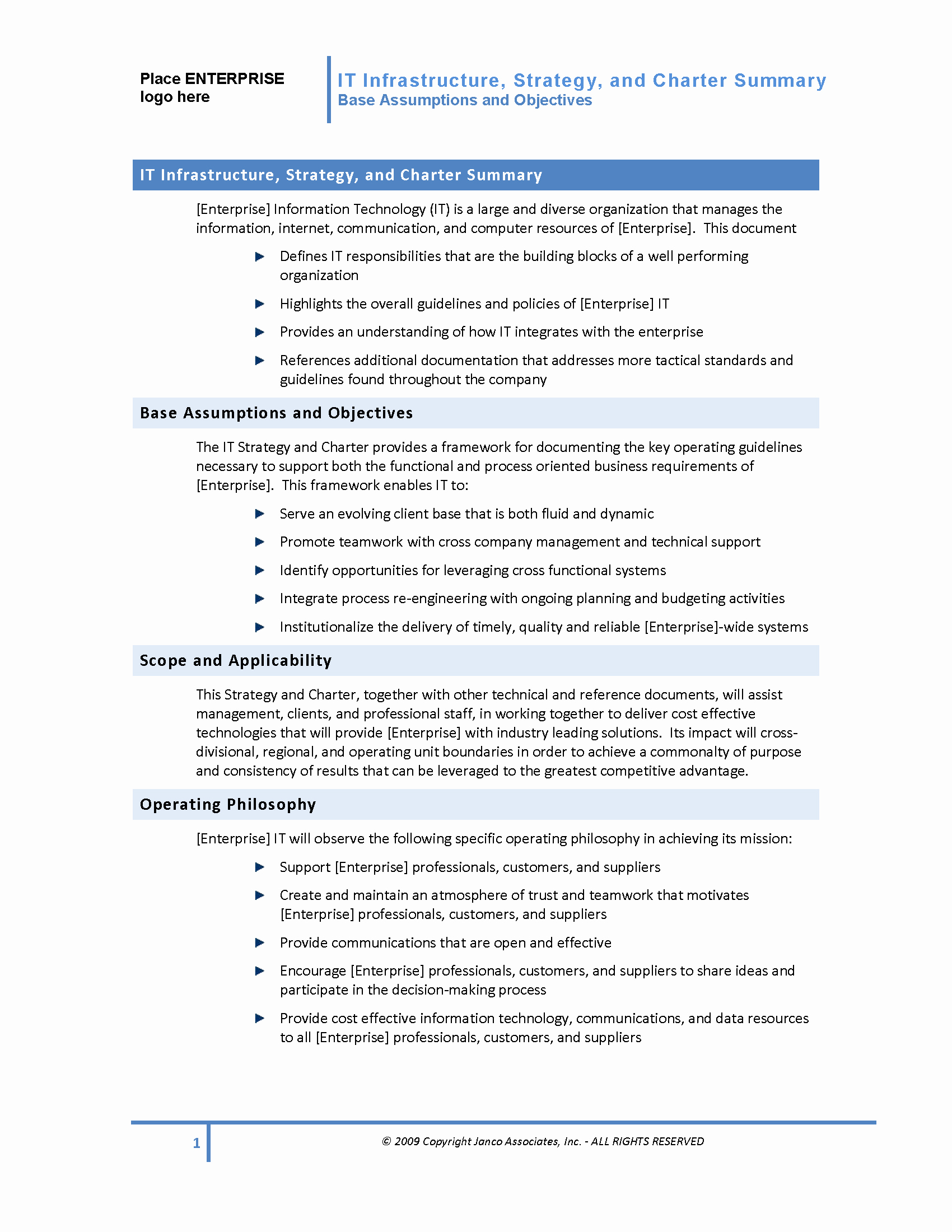 Company Charter Example Luxury World Class It Infrastructure Strategy and Charter Template