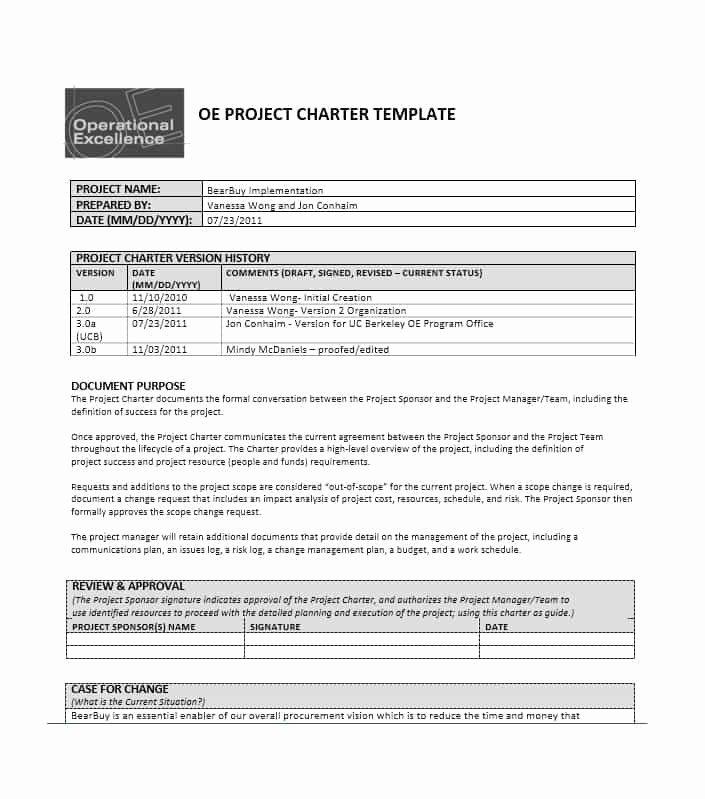 Company Charter Template Unique Project Management Charter Papel Lenguasalacarta