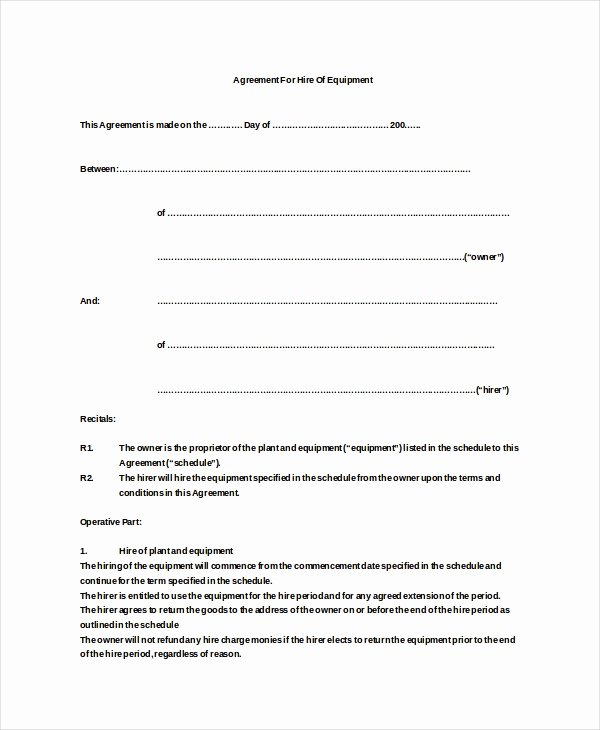 Company Equipment Use and Return Policy Agreement Awesome 20 Equipment Rental Agreement Templates Doc Pdf