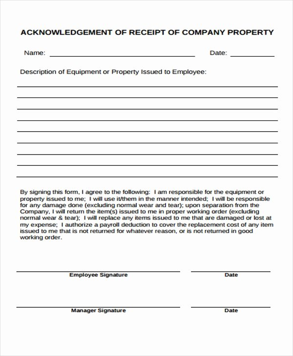 Company Equipment Use and Return Policy Agreement Beautiful 7 Pany Receipt Templates Free Sample Example format