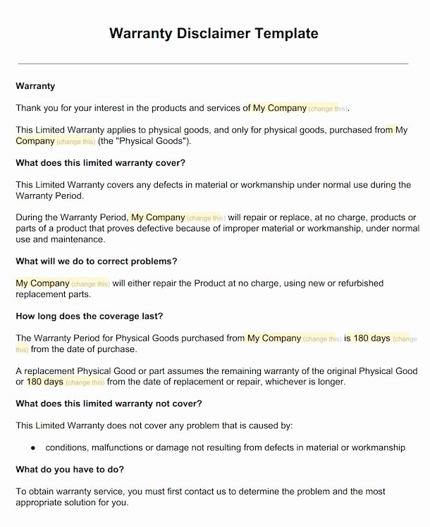Company Equipment Use and Return Policy Agreement Best Of Warranty Disclaimer Sample Template Disclaimkit