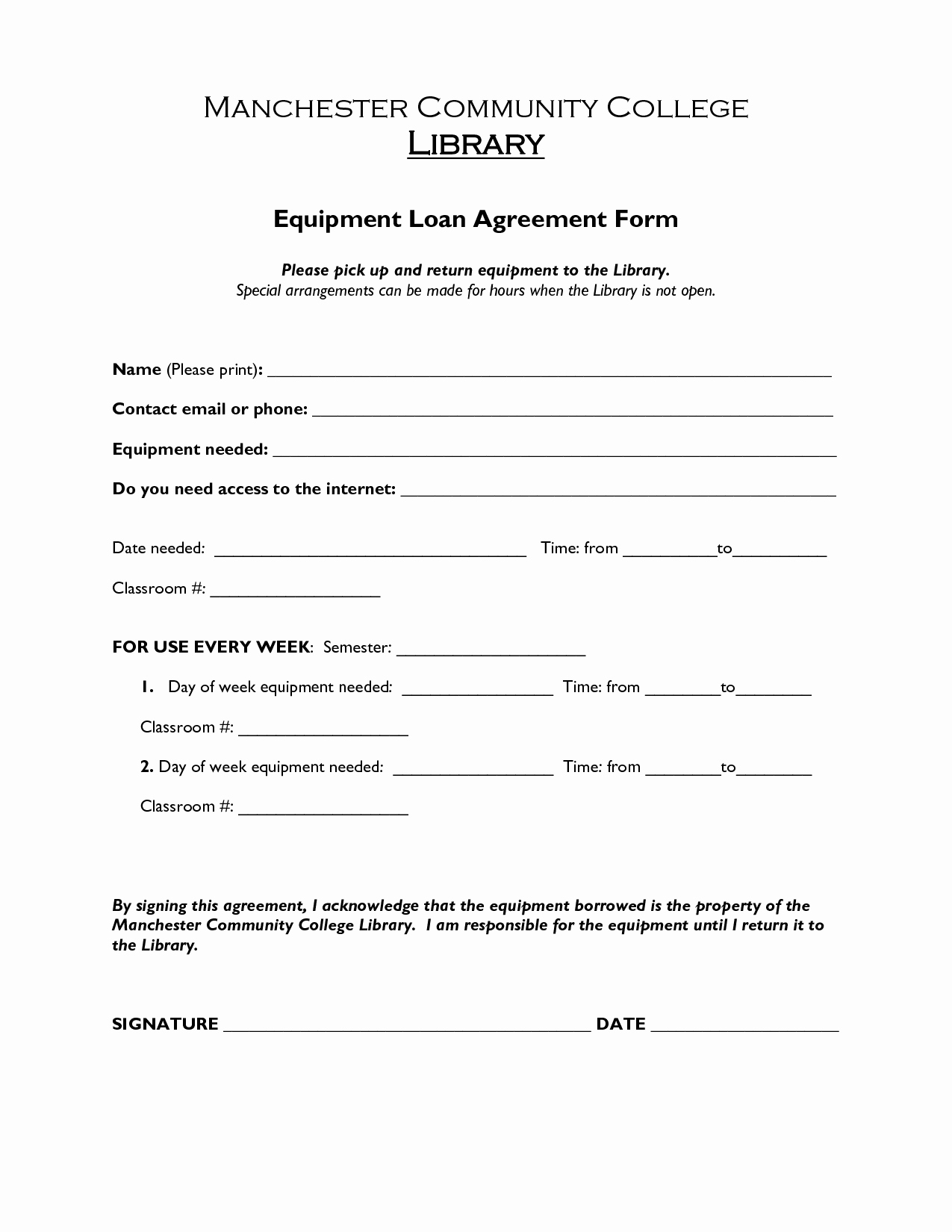 Company Equipment Use and Return Policy Agreement Elegant Printable Sample Loan Agreement form form