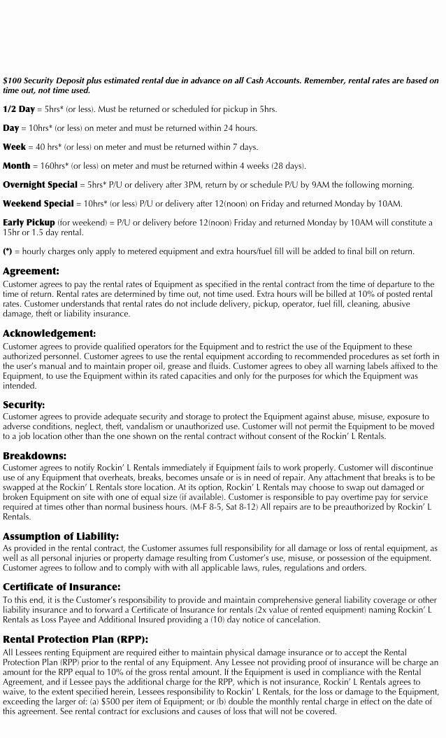 Company Equipment Use and Return Policy Agreement Fresh Rockin' L Rentals Terms and Conditions