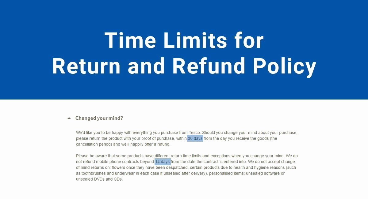 Company Equipment Use and Return Policy Agreement Lovely Time Limits for Return & Refund Policy Termsfeed