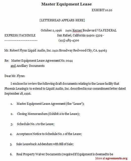 Company Equipment Use and Return Policy Agreement New Master Equipment Lease Sample Master Equipment Lease