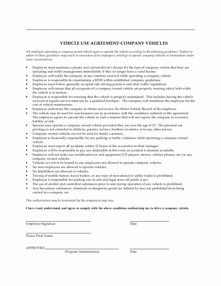 Company Equipment Use and Return Policy Agreement New Pany Vehicle Use Agreement