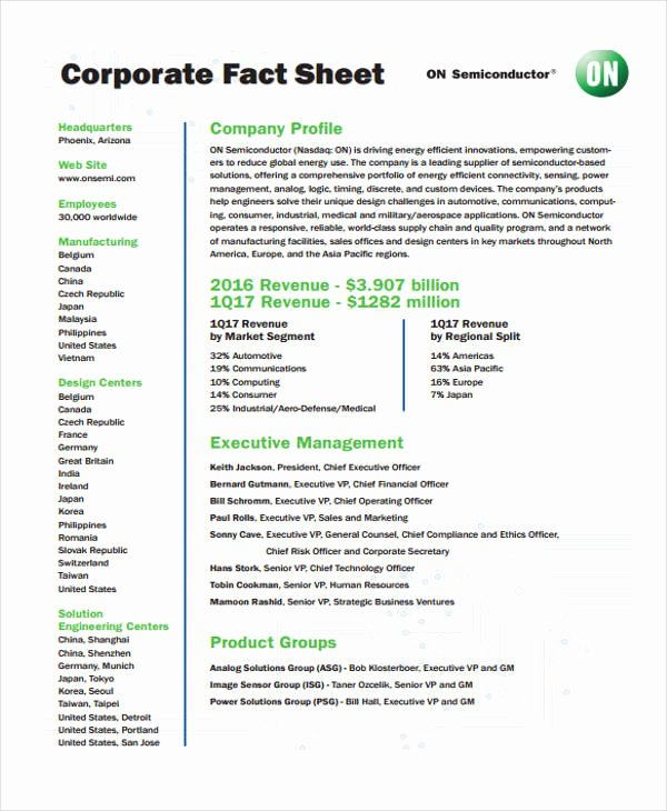 Company Fact Sheet Example Awesome 32 Fact Sheet Templates In Pdf