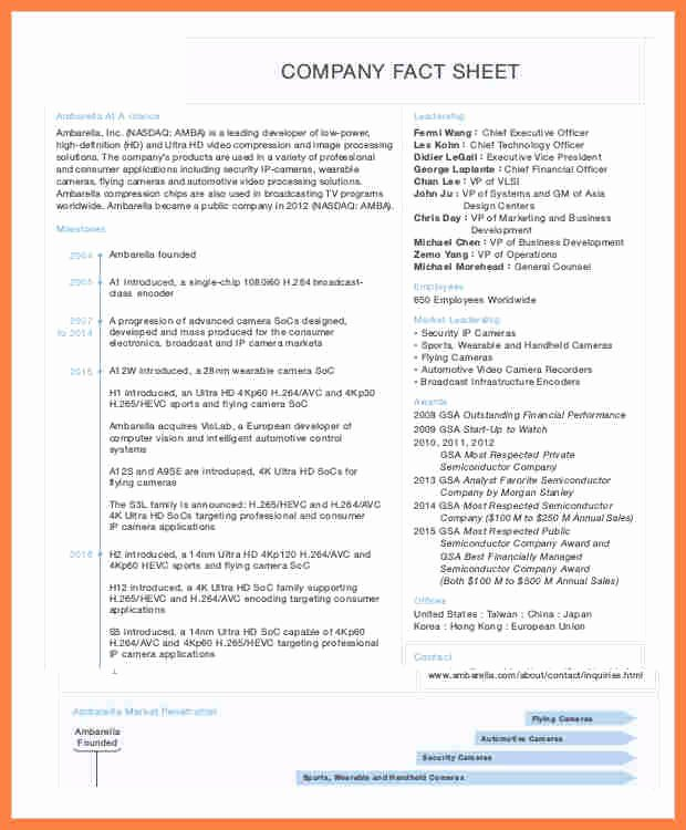 Company Fact Sheet Example Awesome 8 Pany Fact Sheet Template