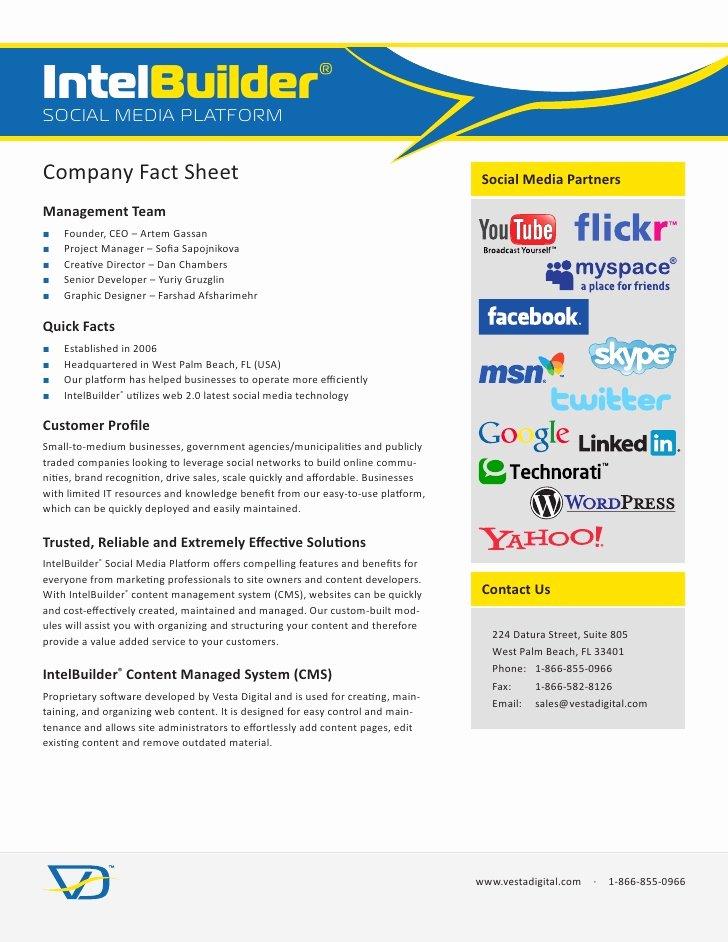 Company Fact Sheet Example Best Of Intelbuilder social Media Platform Pany Fact Sheet