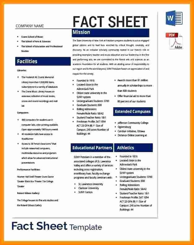 Company Fact Sheet Example Inspirational 15 Facts Sheet Template