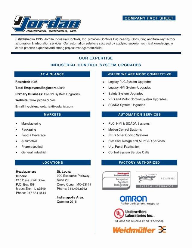 Company Fact Sheet Example Lovely Jordan Industrial Pany Fact Sheet