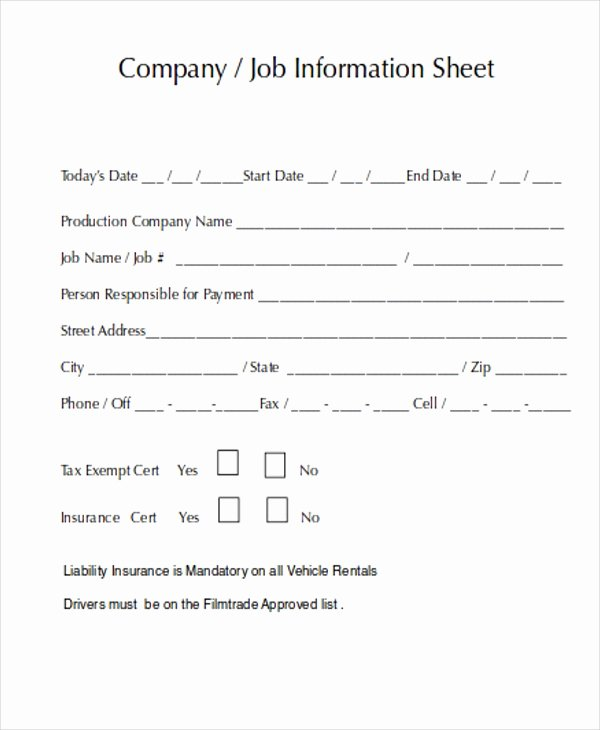 Company Fact Sheet Example Luxury 8 Job Sheet Templates Free Samples Examples format