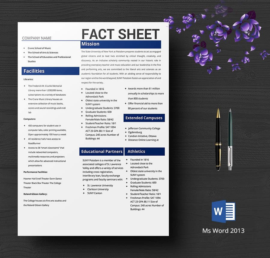 Company Fact Sheet Example New 8 Free Fact Sheet Templates Survey Campaign