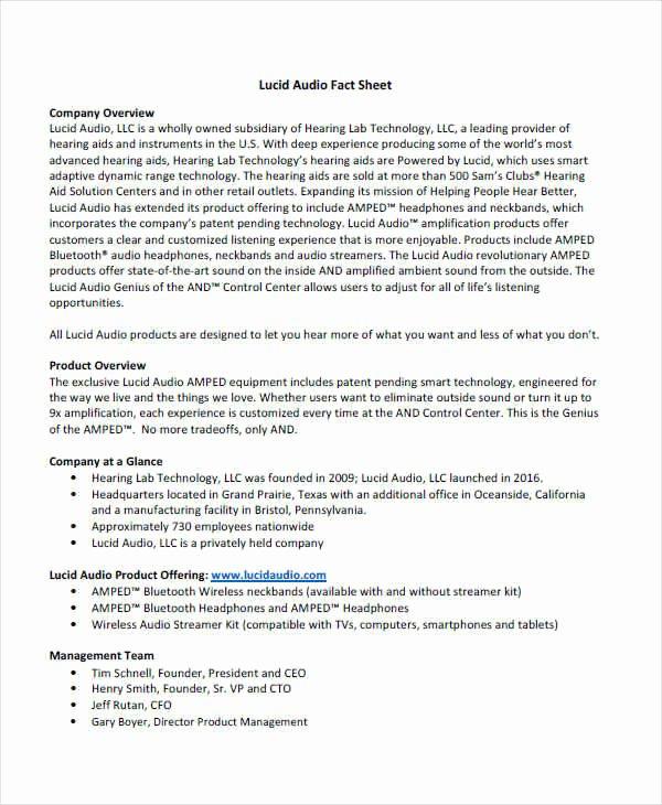 Company Fact Sheet Example Unique 37 Sample Fact Sheets