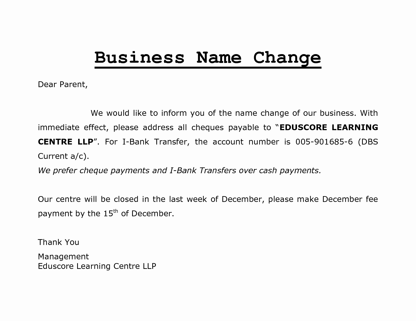 Company Name Change Letter Beautiful Best S Of Name Change Letter Template Pany Name