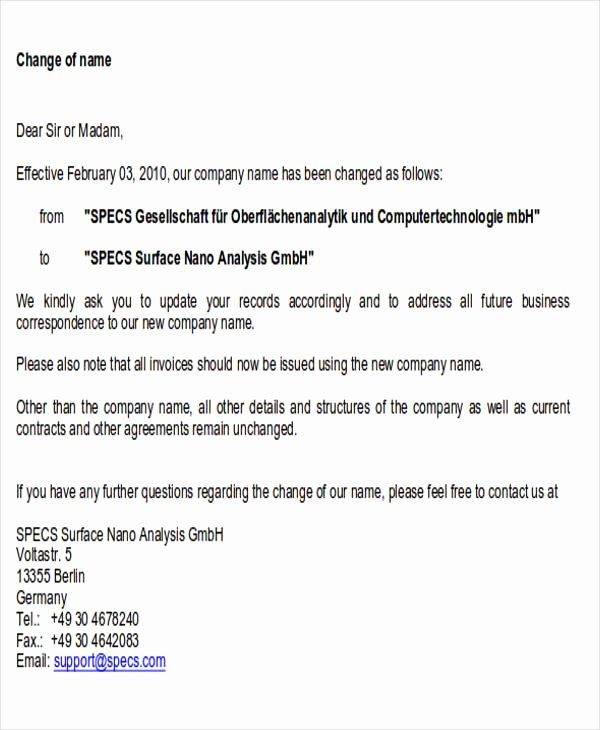 Company Name Change Letter Best Of Sample Business Name Change Letter 6 Examples In Word Pdf