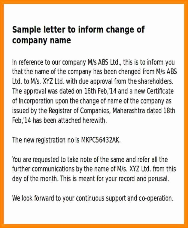Company Name Change Letter Lovely 12 Letter Of Pany Name Change
