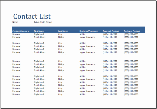 Company Phone Directory Template Beautiful 24 Free Contact List Templates In Word Excel Pdf