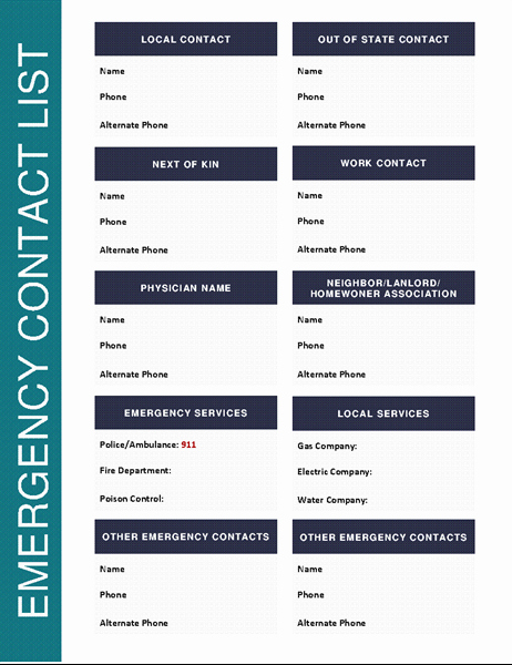 Company Phone Directory Template New Emergency Contact List