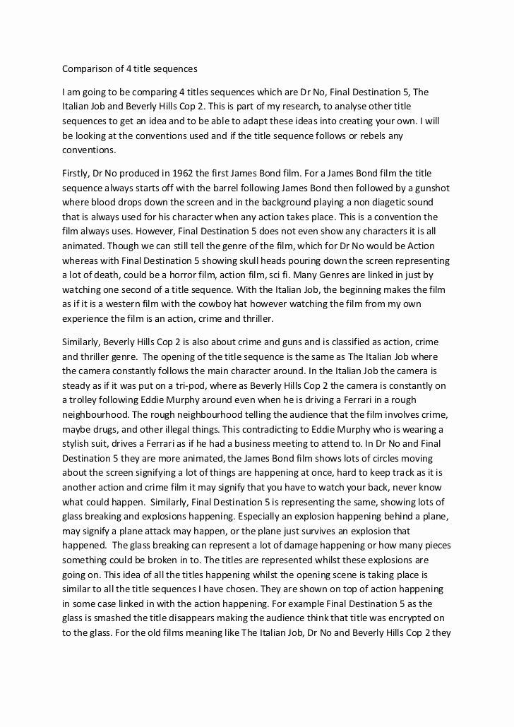 Comparative Critique Essay Example Awesome Parison Of 4 Title Sequences Essay