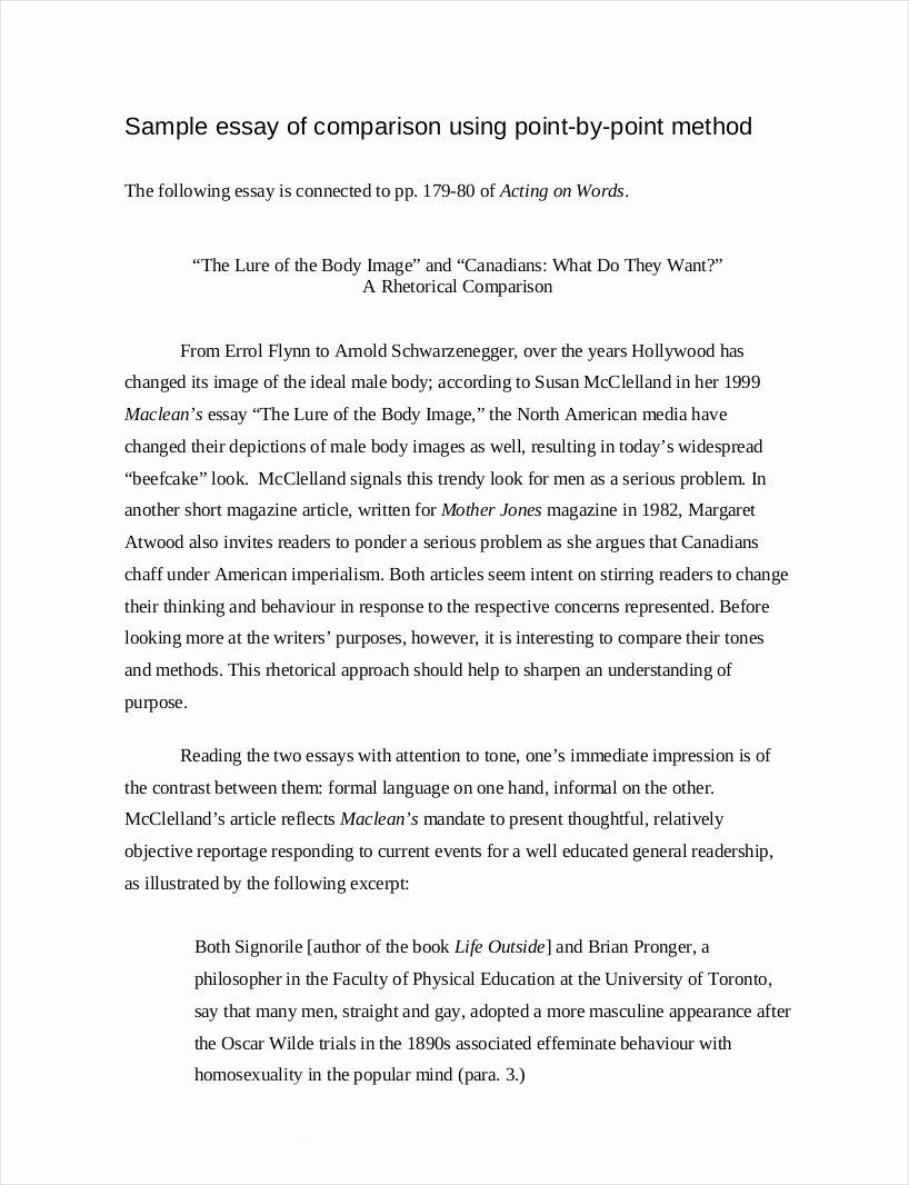 Comparative Critique Essay Example Elegant 9 Parative Essay Samples Free Pdf format Download