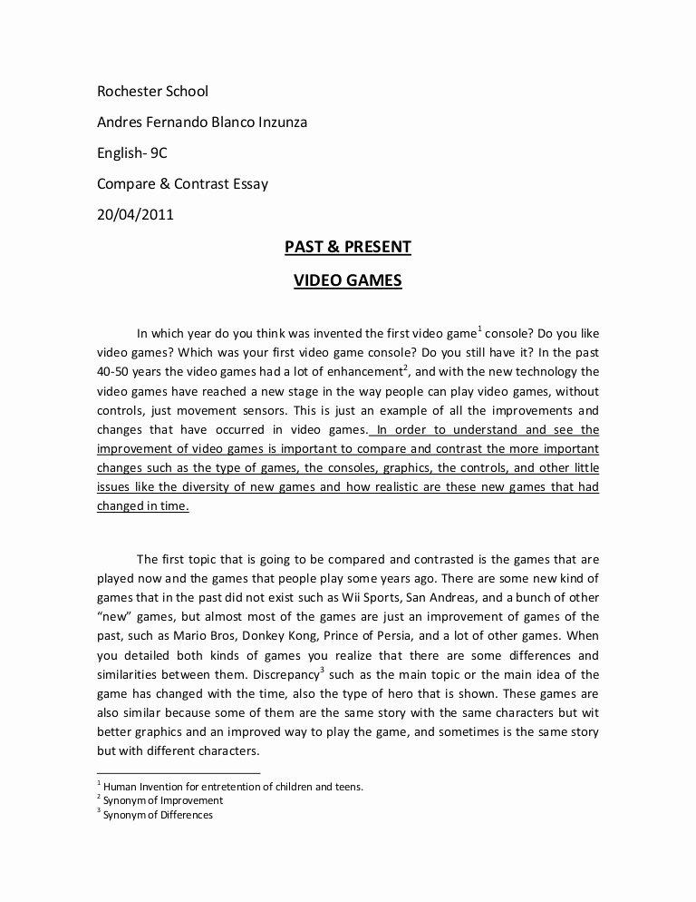 Comparative Critique Essay Example Elegant Pare and Contrast Essay Video Games