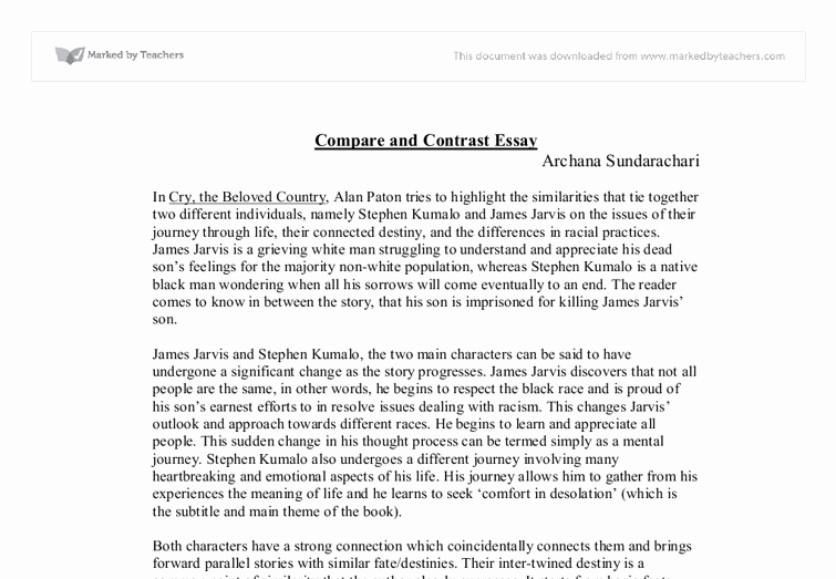 Compare and Contrast Conclusion Example Beautiful Cry the Beloved Country Pare and Contrast Essay Gcse