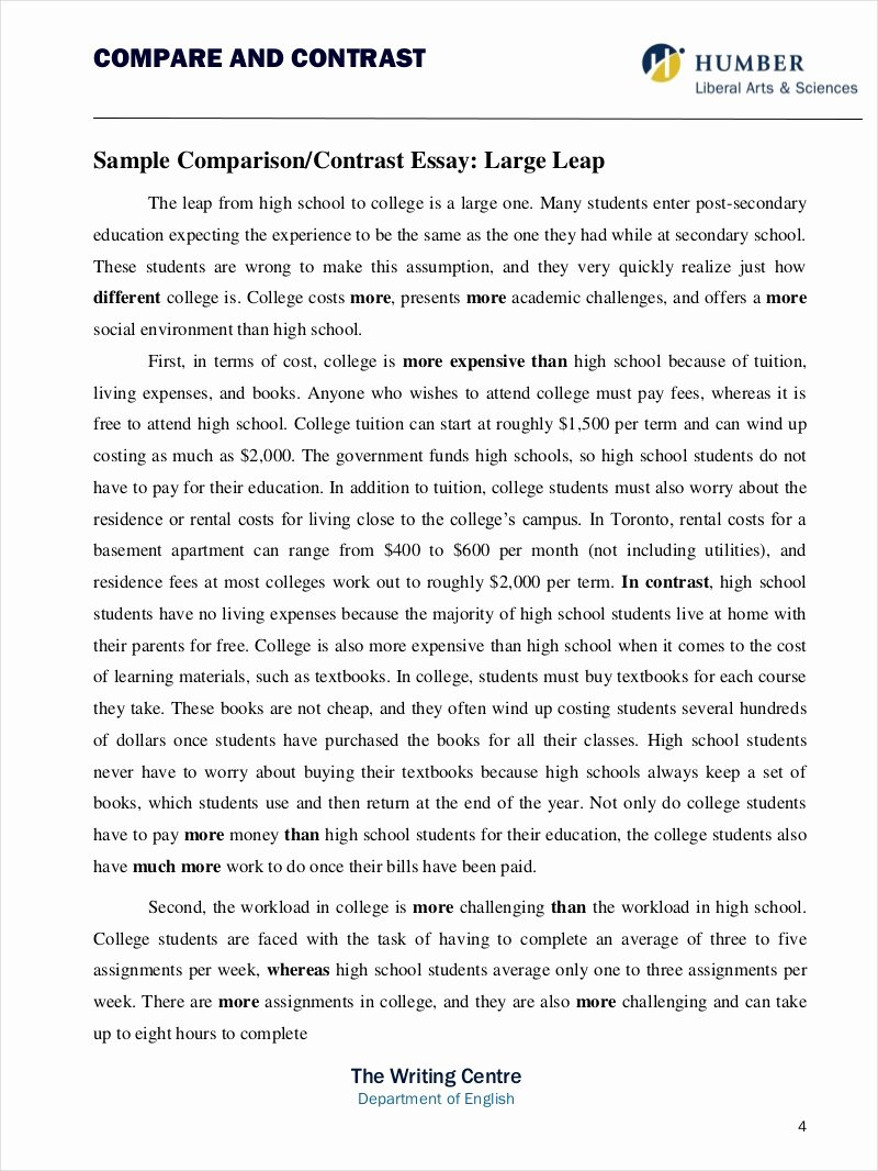 Compare and Contrast Conclusion Example New 9 Parative Essay Samples Free Pdf format Download
