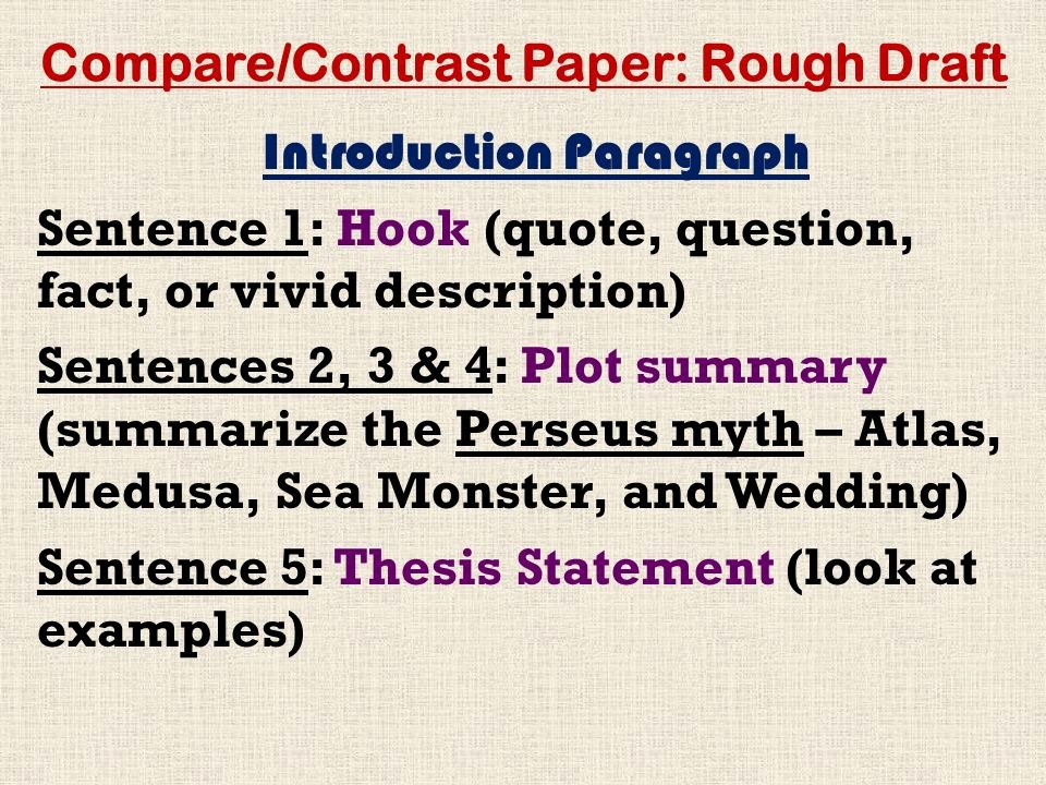 Compare and Contrast Introduction Paragraph Awesome Pare Contrast Paper Rough Draft Ppt