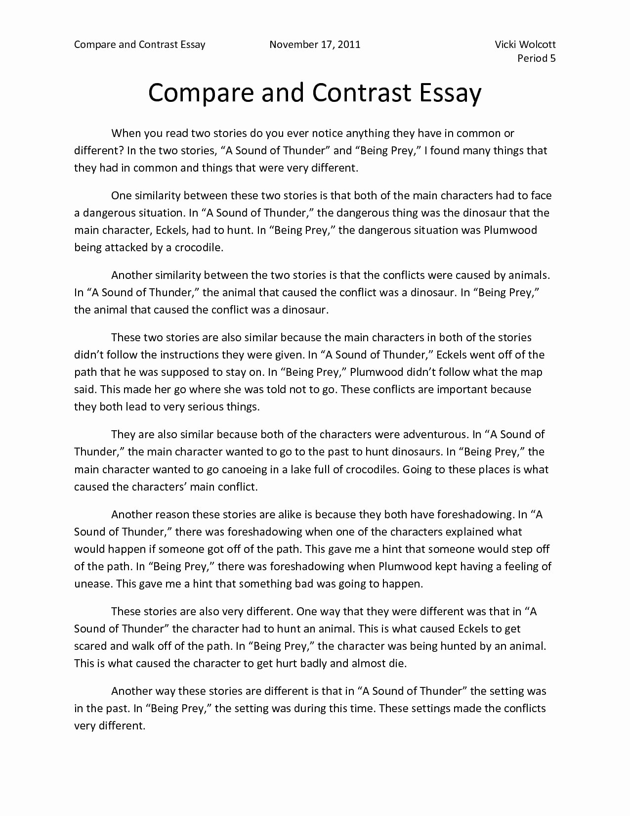 Compare and Contrast Introduction Paragraph Beautiful Pare and Contrast Essay