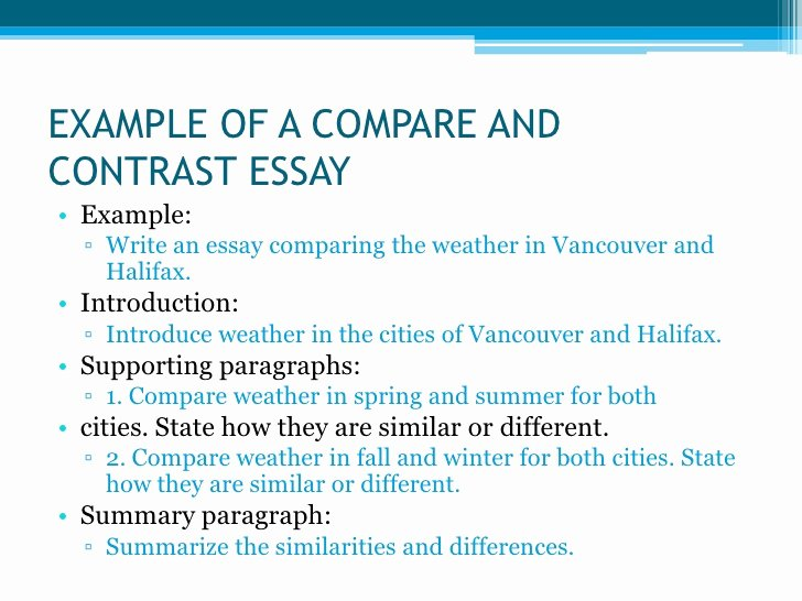 Compare and Contrast Introduction Paragraph Fresh Types Of Essays