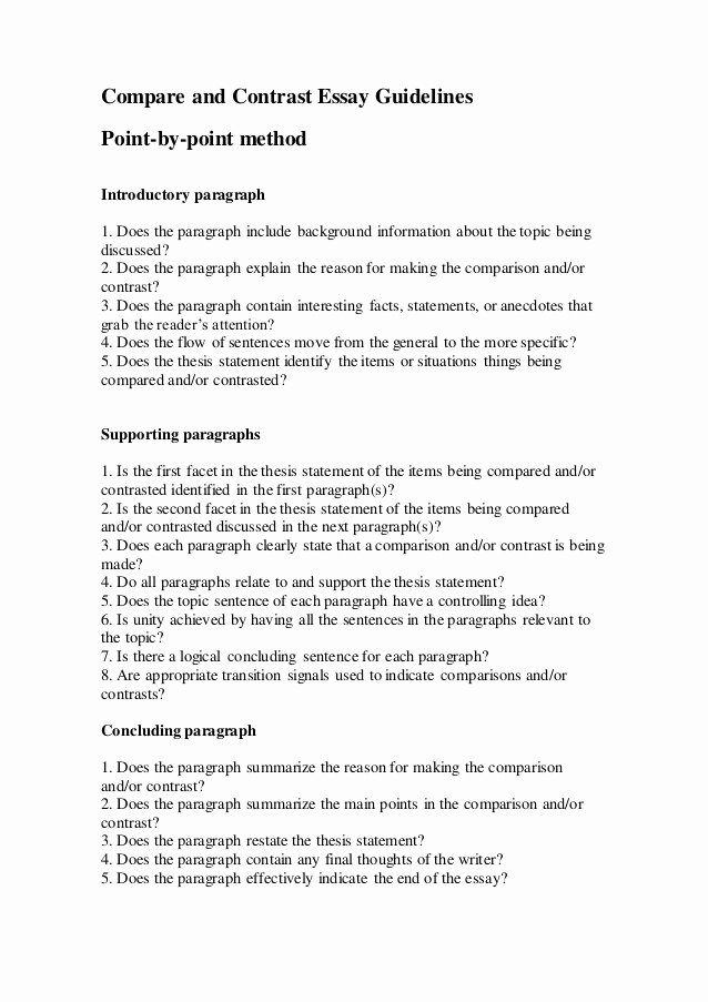 Compare and Contrast Introduction Paragraph New Pare and Contrast Essay Guidelines