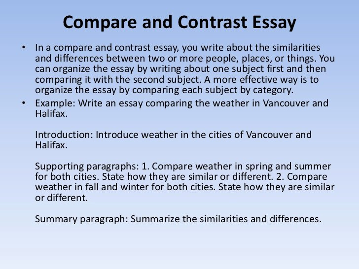 Compare and Contrast Introduction Paragraph Unique How to Write Essays