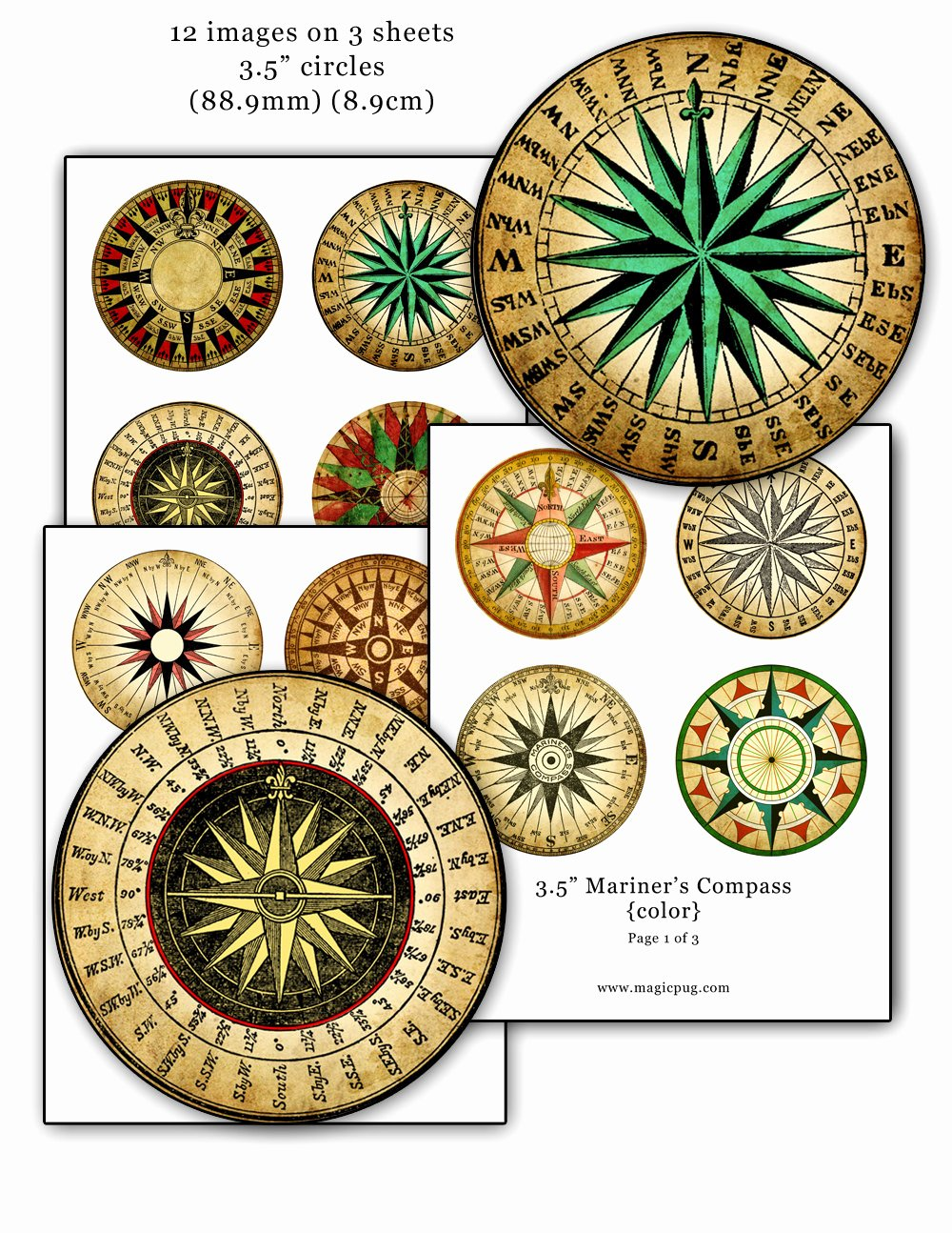 Compass Rose Print Out Lovely Mariner S Rose Pass Color Digital Collage Sheet 3 5